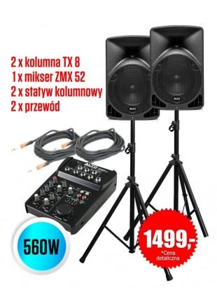 Zestaw nagłośnieniowy Alto 2 x kolumna TX8 Mikser ZMX 52 + statywy i przewody Przesyłka gratis