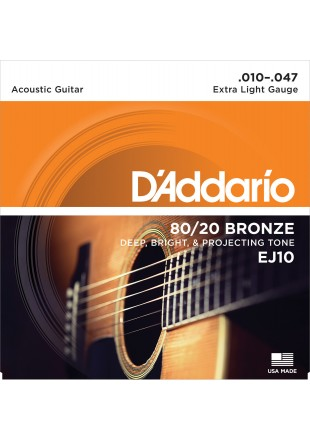 D'Addario EJ10 struny do gitary akustycznej 10-47